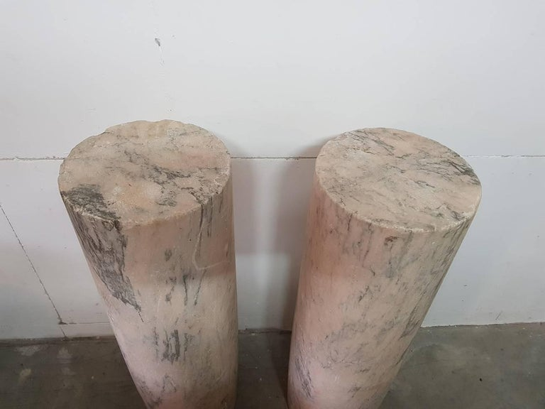 18th Century and Earlier Two 18th Century French Pink Marble Columns/Pillars For Sale