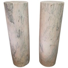 Two 18th Century French Pink Marble Columns/Pillars