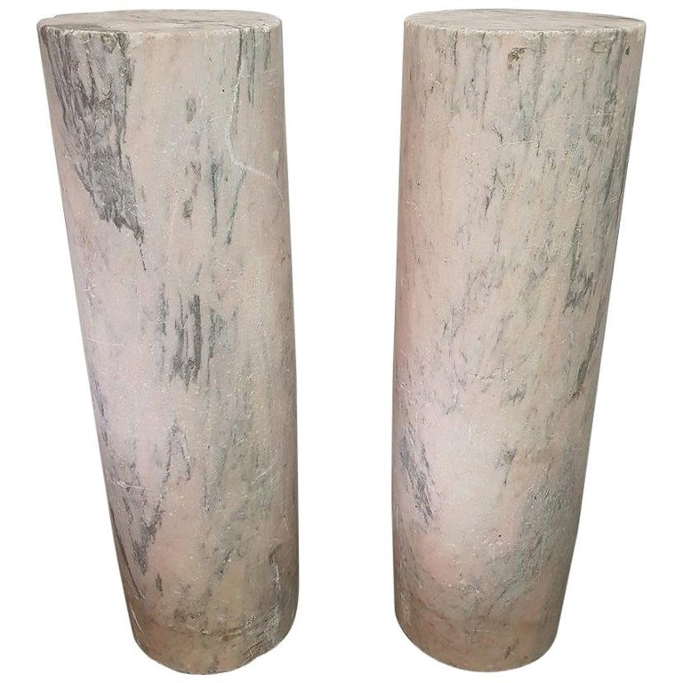 Two 18th Century French Pink Marble Columns/Pillars For Sale