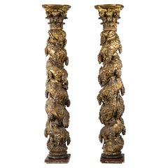 Two 18th Century Italian Baroque Solomonic Gilt Columns with Corinthian Capitals