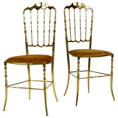 Two 1960s Brass Chiavari Chairs Designed by Giuseppe Gaetano Descalzi