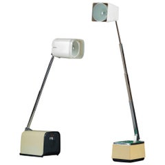 Two 1970s Microlite Collapsible and Folding Desk Lamps with Polished Steel Stems