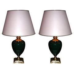 Two 1980s Lamps with Green Ceramic Body