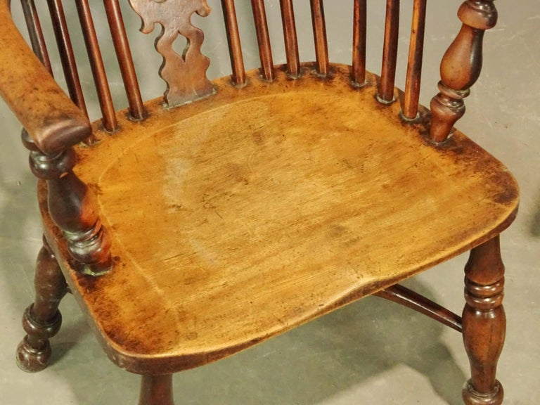 Hand-Carved Two 19th Century English Windsor Dining Armchairs, Sold Singly For Sale