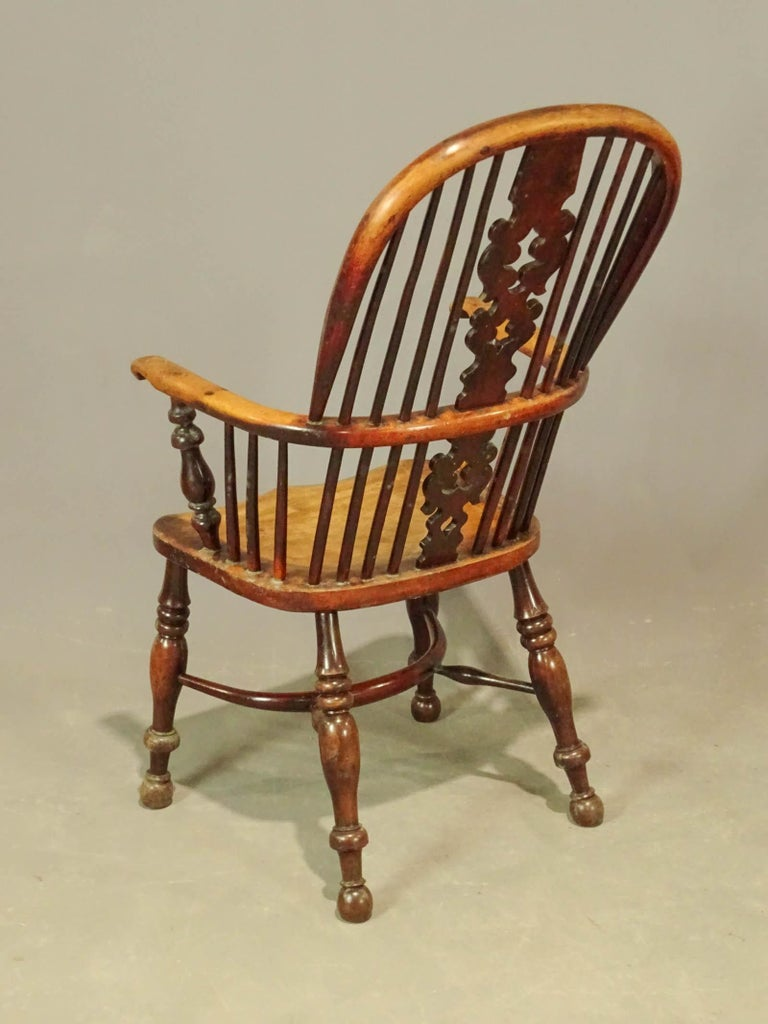 Two 19th Century English Windsor Dining Armchairs, Sold Singly In Good Condition For Sale In Great Barrington, MA