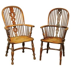 Two 19th Century English Windsor Dining Armchairs, Sold Singly