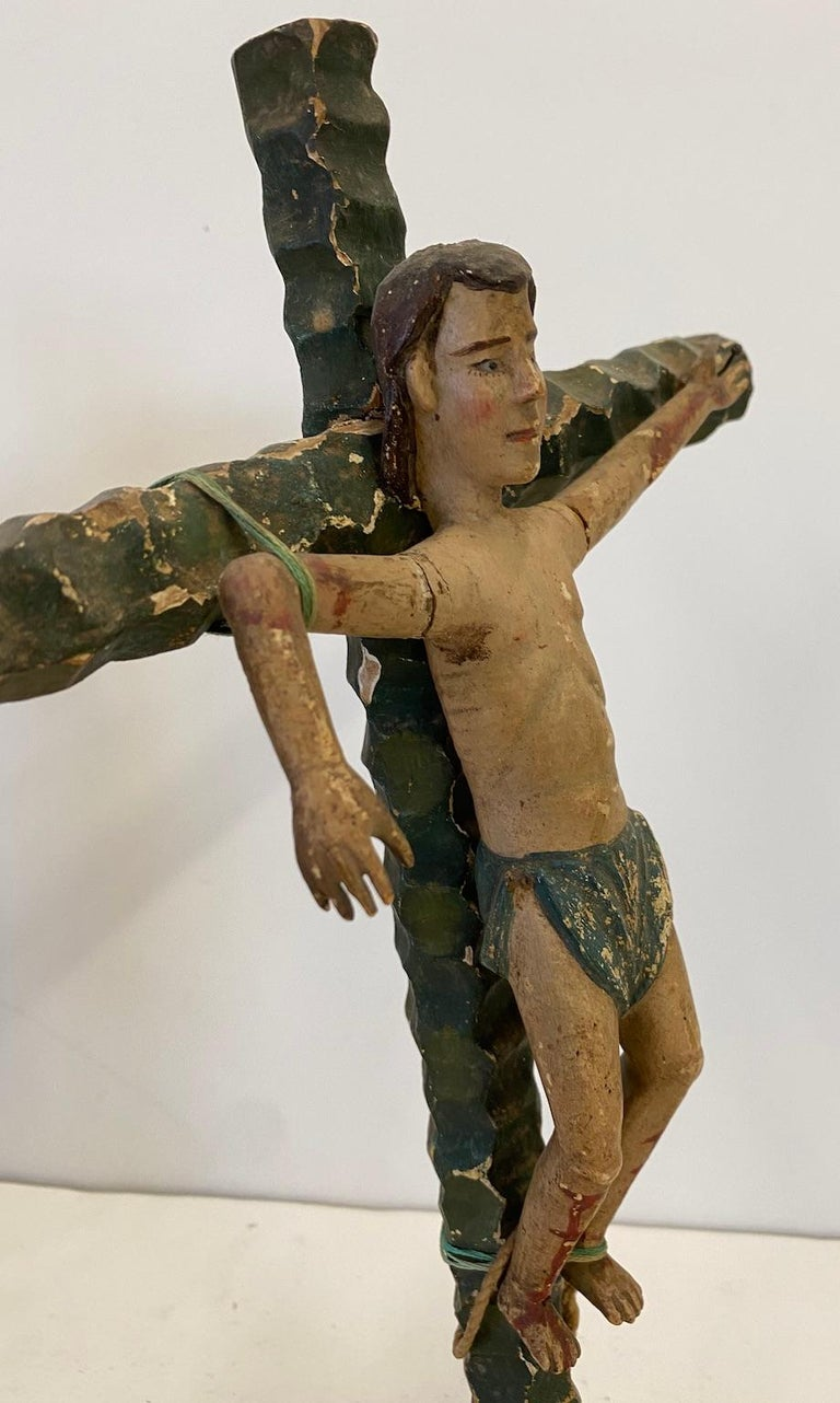 Hand-Carved Two 19th Century, Carved and Painted Religious Figures,