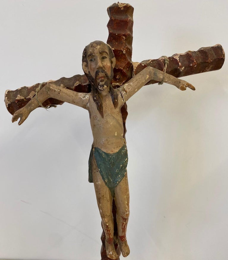 Two 19th Century, Carved and Painted Religious Figures,