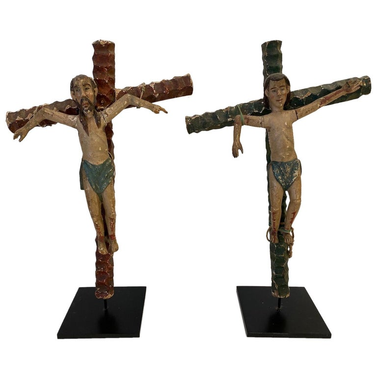 """Two 19th Century, Carved and Painted Religious Figures, """"The Two Thieves"""" For Sale"""