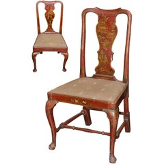 Two 19th Century English Red Chinoiserie Side Chairs