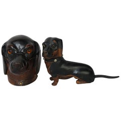 Two 19th Century English Walnut Carved Victorian Dachshund Wiener Dog Inkwells