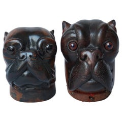 Two 19th Century Lignum Vitae or Pockwood Carved Victorian Bulldog Inkwells