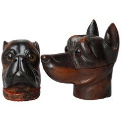Two 19th Century Lignum Vitae or Pockwood Victorian Bulldog Doberman Inkwells