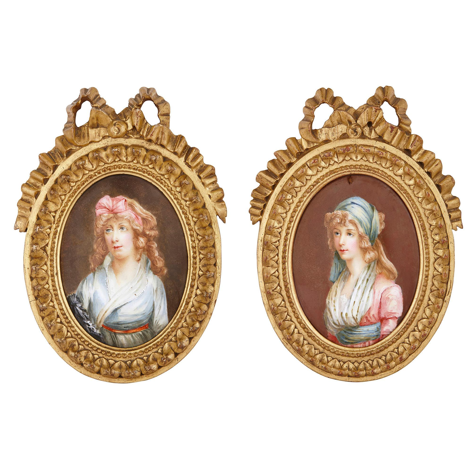 Two 19th Century Limoges Enamel Portrait Plaques