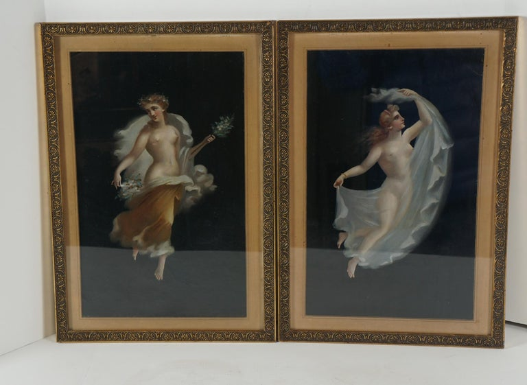 These two paintings, considered tourist art produced in Naples Italy in the late 19th century, are reinterpretations of the frescos found in the excavations of Pompei. The painting is light and delicate, typical of Roman imperial works done as
