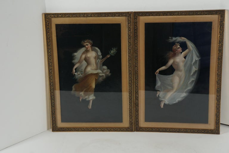 Italian Two 19th Century Oil on Board Paintings After Pompeian Fresco For Sale