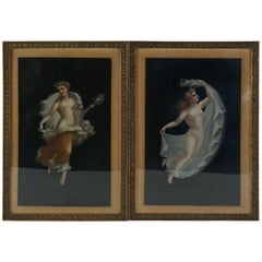 Two 19th Century Oil on Board Paintings After Pompeian Fresco