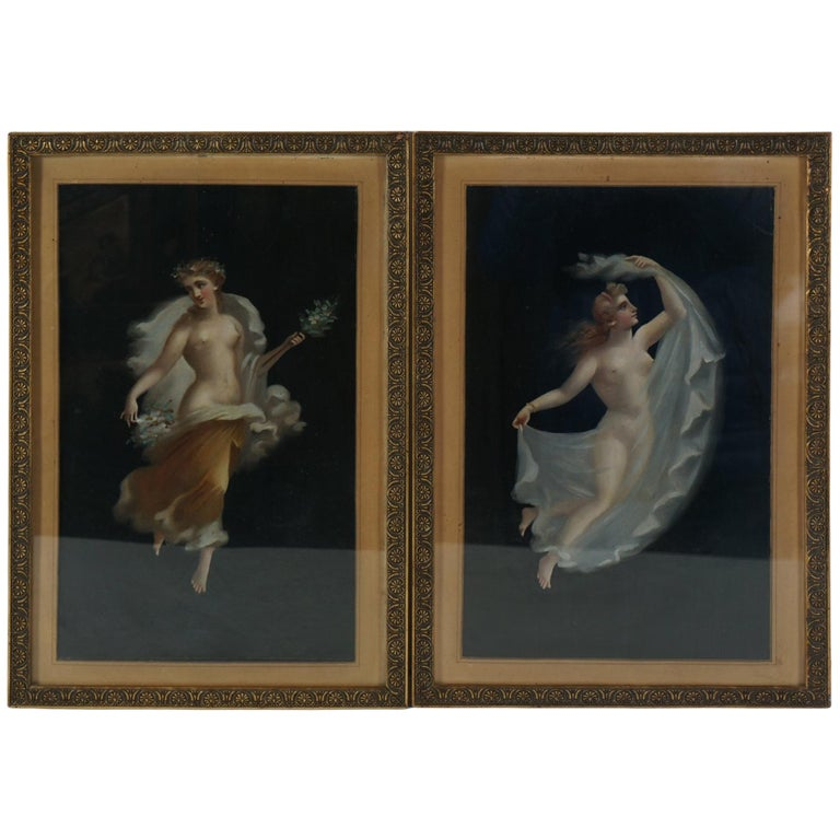 Two 19th Century Oil on Board Paintings After Pompeian Fresco For Sale