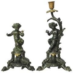 Two 19th Century Putti Cherubs Candlestick with Matching Side Figure Garniture