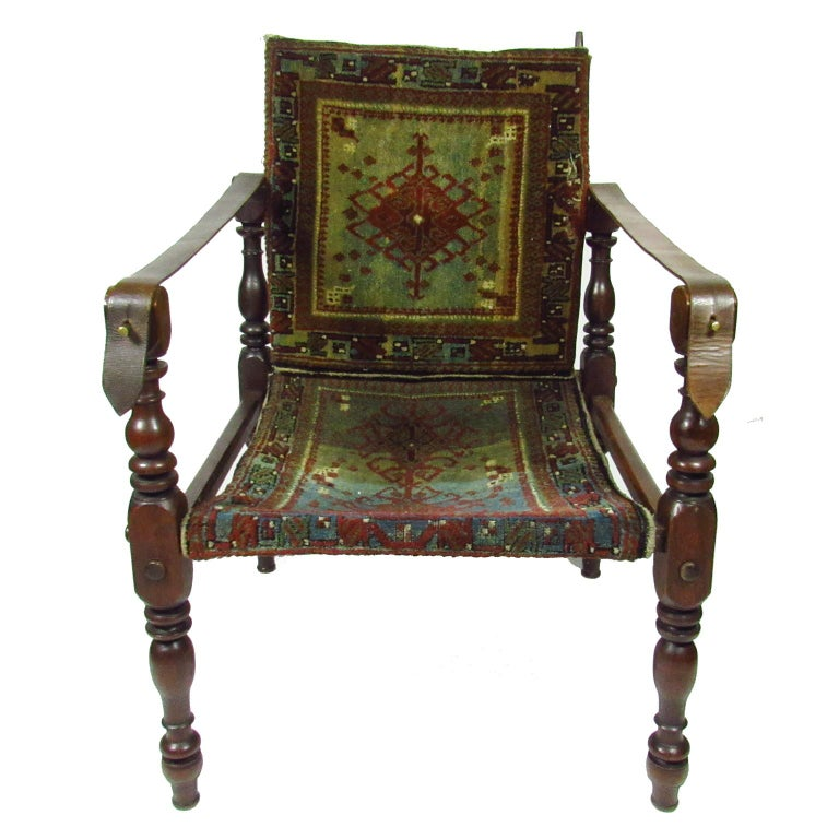Sensational Two 19Th Century Rug Upholstered Campaign Chairs Bralicious Painted Fabric Chair Ideas Braliciousco