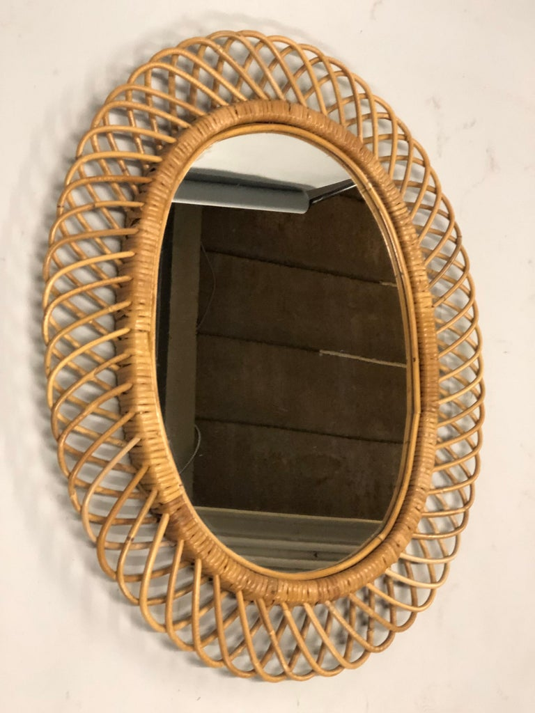 2 Italian Mid-Century Modern Rattan and Bamboo Wall Mirrors Attributed to Albini In Good Condition For Sale In New York, NY
