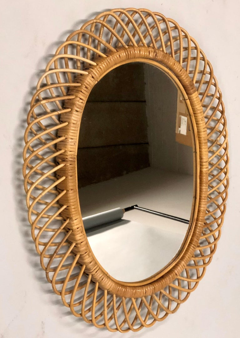 20th Century 2 Italian Mid-Century Modern Rattan and Bamboo Wall Mirrors Attributed to Albini For Sale