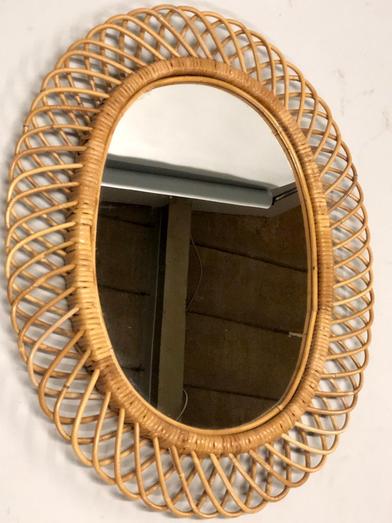 2 Italian Mid-Century Modern Rattan and Bamboo Wall Mirrors Attributed to Albini For Sale 1