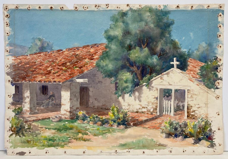 Two separate watercolor views of the California Rancho structure