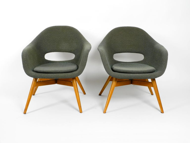 Two Lounge Chairs Miroslav Navratil with Fiberglass Shell and Original Cover For Sale 4