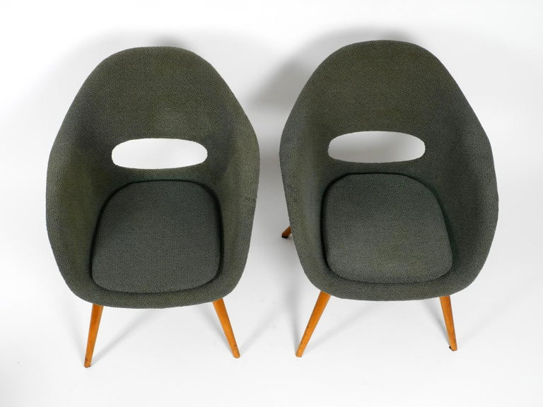 Two Lounge Chairs Miroslav Navratil with Fiberglass Shell and Original Cover For Sale 9