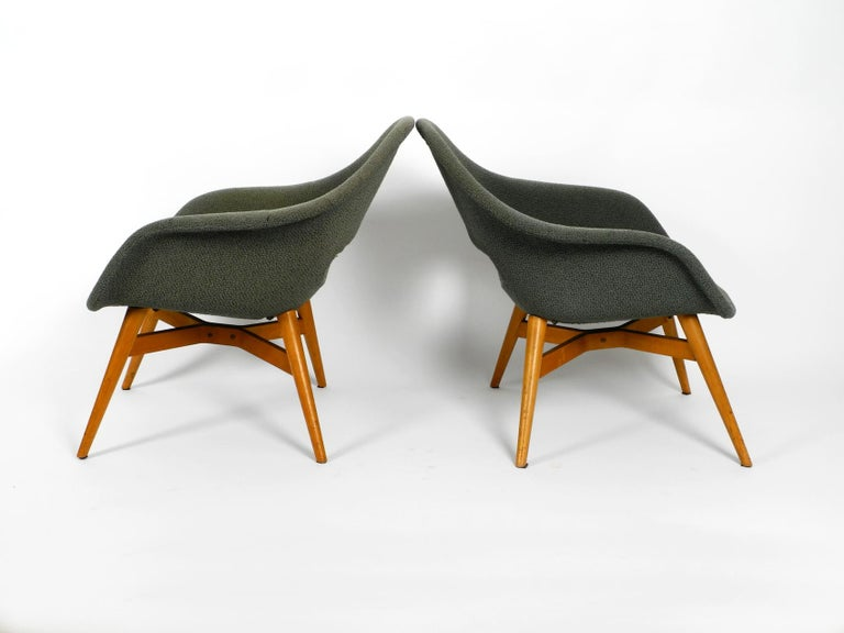 Mid-Century Modern Two Lounge Chairs Miroslav Navratil with Fiberglass Shell and Original Cover For Sale