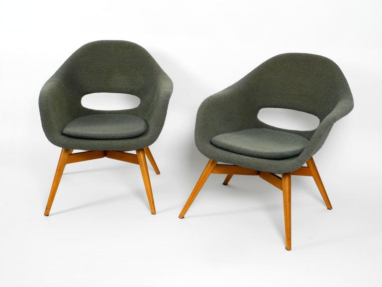 Czech Two Lounge Chairs Miroslav Navratil with Fiberglass Shell and Original Cover For Sale