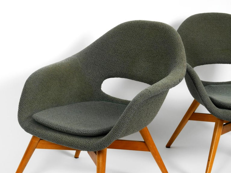Mid-20th Century Two Lounge Chairs Miroslav Navratil with Fiberglass Shell and Original Cover For Sale