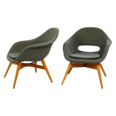 Two Lounge Chairs Miroslav Navratil with Fiberglass Shell and Original Cover