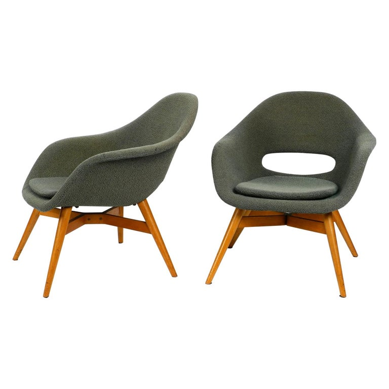 Two Lounge Chairs Miroslav Navratil with Fiberglass Shell and Original Cover For Sale