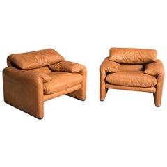 Two 675 Maralunga Tobacco Leather Adjustable Headrest Armchairs