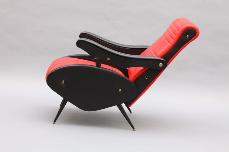 Italian Two Adjustable Armchairs in the Style of Marco Zanuso, Italy, 1958 For Sale