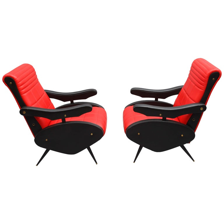 Two Adjustable Armchairs in the Style of Marco Zanuso, Italy, 1958 For Sale
