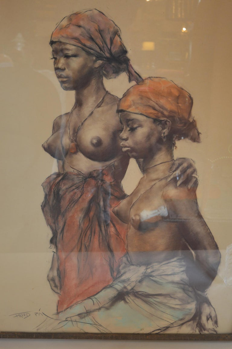 Two African Woman pastel on paper by Pal Fried, an American/Hungarian artist. From the estate of Zsa Zsa Gabor.