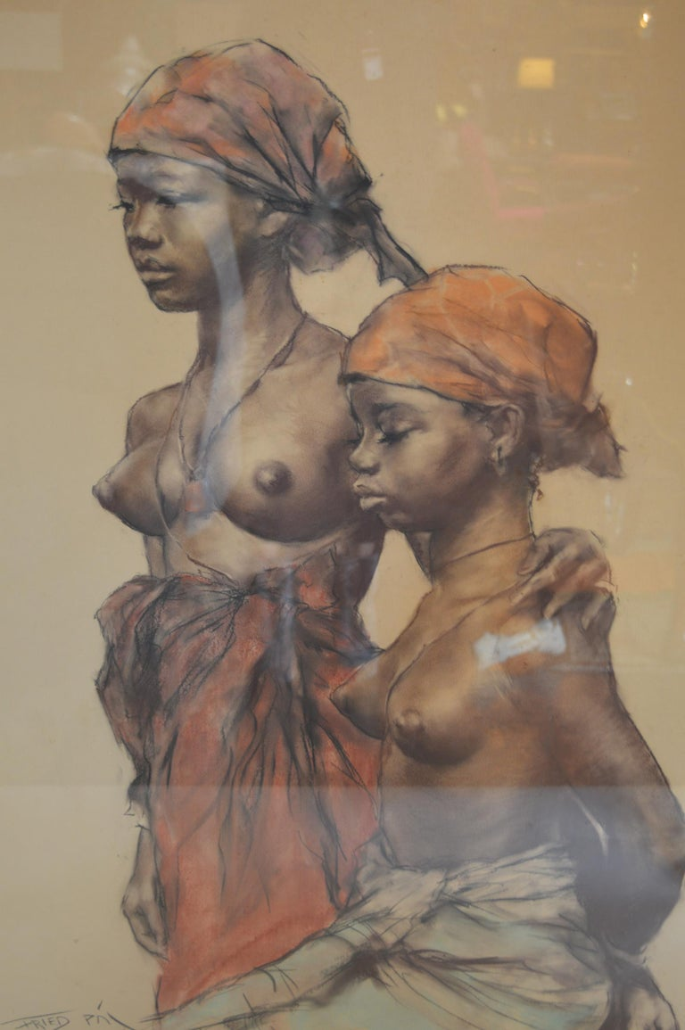 American Two African Woman, Pastel on Paper by Pal Fried For Sale