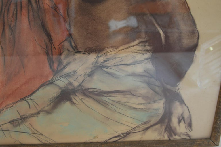 Two African Woman, Pastel on Paper by Pal Fried In Excellent Condition For Sale In Los Angeles, CA