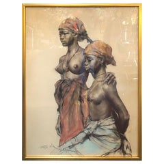 Two African Women, Pastel on Paper by Pal Fried