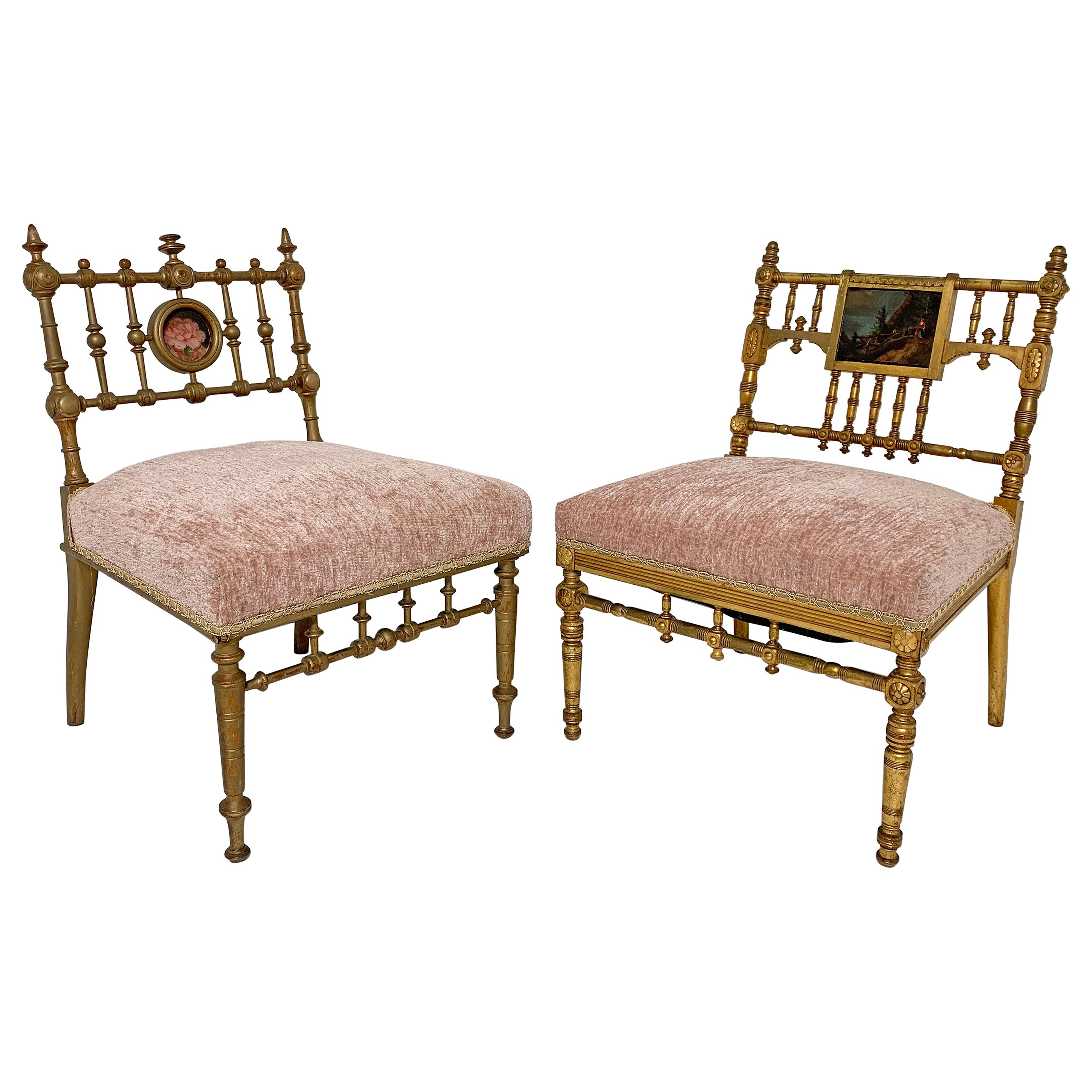 Two American Aesthetic Movement Giltwood Slipper Chairs, circa Late 1800s