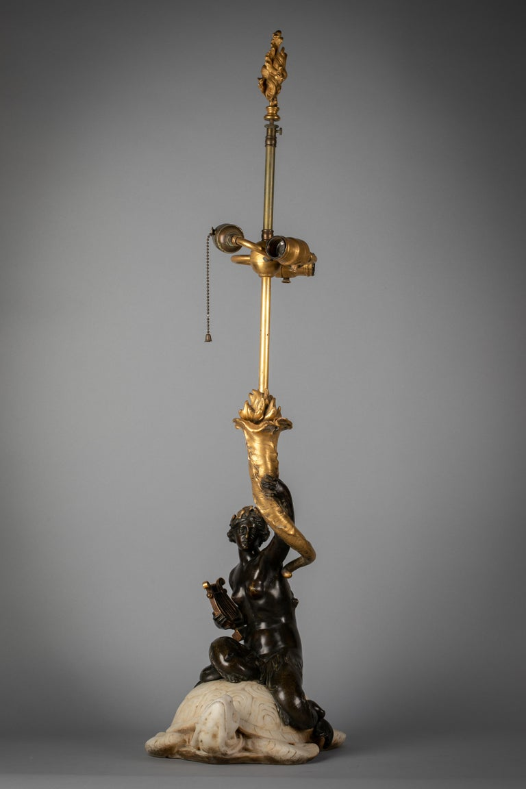 Two American Bronze and Marble Table Lamps, E.F. Caldwell, circa 1915 For Sale 4