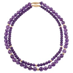 Two Amethyst and Gold Beaded Necklaces, 1980s