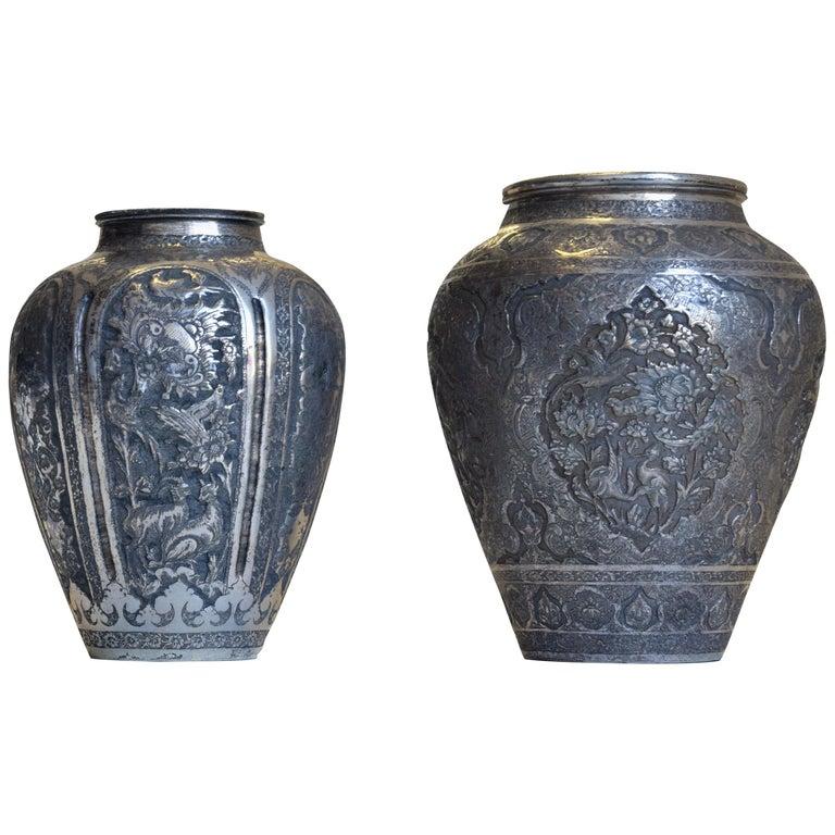 Two Ancient Persian Silver Vases, 19th Century For Sale