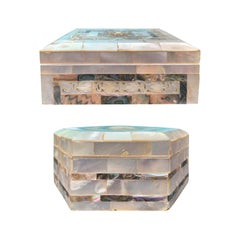 Two Anglo-Indian Visakhapatnam Mother of Pearl Inlaid Boxes, circa 1920s-1930s