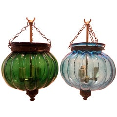 Two Antique Anglo Indian Bell Jar Glass Lanterns in Unusual Melon Shape