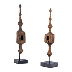 Two Antique Carved and Custom Mounted Finials