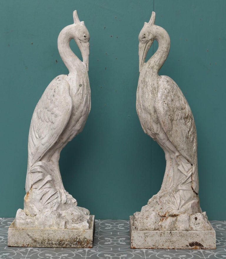Two Antique Cast Iron Heron Sculptures In Fair Condition For Sale In Wormelow, Herefordshire